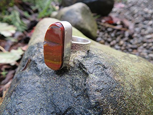 Jasper Cocktail Ring - Sterling silver ring red and yellow stone, jasper, size 6 1/4, OOAK, handmade, stone ring, statement ring, cocktail ring, metalsmith, stone
