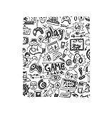 VROSELV Custom Blanket Video Games Black and White Sketch Style Gaming Design Racing Monitor Device Gadget Teen 90s Soft Fleece Throw Blanket Blak White