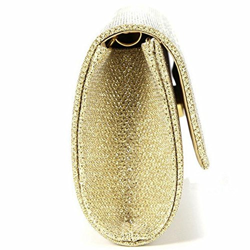 for Shoulder Clutch Bags Envelope Rhinestone Wedding Party Frosted Evening Gold Women's Handbag fEqw8Yg
