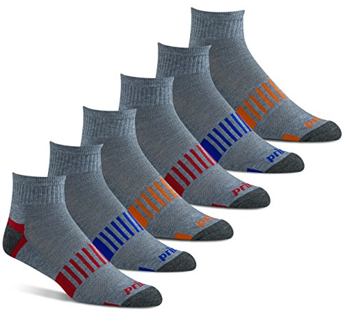 Prince Men's Quarter Performance Athletic Socks for Running, Tennis, and Casual Use (6 Pair Pack) (Men's Shoe Size 6-12 (US), Grey)