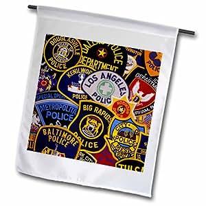 """3dRose fl_97657_2 """"Us Police Shoulder Badges Us52 Dfr0004 David R Frazier"""" Garden Flag, 18 x 27"""""""