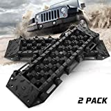 BUNKER INDUST Traction Tracks Mat, 2 Pcs Traction Boards Recovery Tool for Off-Road 4X4 Mud, Sand, Snow-Black Track Tire Ladder