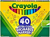 Crayola Ultra-Clean Washable Markers, Fine Tip for Details, Great for Coloring Books, Gift, 40 Count