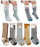 Toptim Baby Boy's Non Skid Cotton Socks ,Unisex Toddlers Knee High Stockings (2-4T Antiskid), 5 pairs of socks in different colors