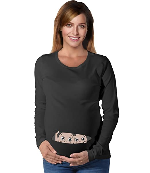 535dabb0 Funny Twin Babies Peeking - Twins Pregnancy Peekaboo Maternity Long Sleeve  Shirt: Amazon.ca: Clothing & Accessories