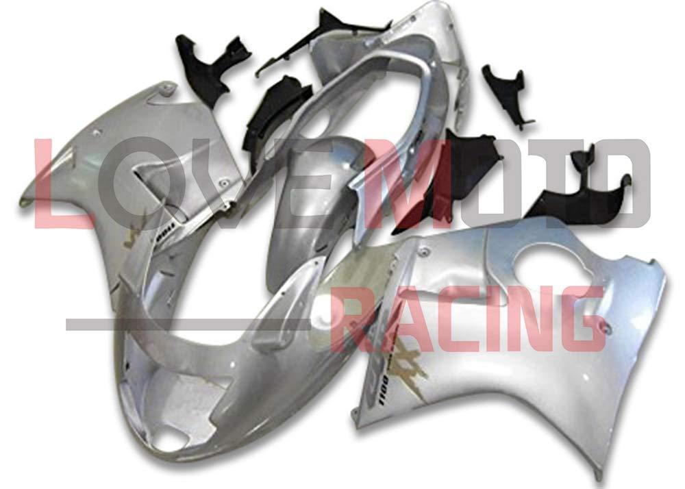 LoveMoto ブルー/イエローフェアリング ホンダ honda CBR1100XX F5 1996-2007 96-07 CBR1100 XX F5 ABS射出成型プラスチックオートバイフェアリングセットのキット シルバー   B07K723FR2