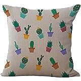 Funda de Cojín Almohada Lino Caso Algodón Impresión de Cactus Tropical Decoración Coche Casa - 2#