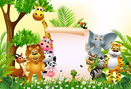 Babies Wallpaper - LFEEY 10x7ft Custom Safari Park Photo Background Kids 1st 2nd 3rd Birthday Party Baby Shower Decor Wallpaper Cartoon Zoo Forest Jungle Wild Animals Customizable Backdrop Photo Studio Props