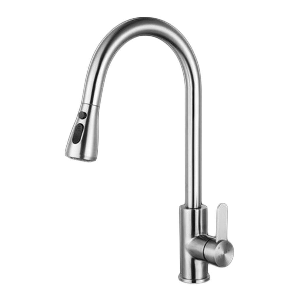 Kitchen Sink Faucets Faucet Stainless Steel Telescopic Pull Faucet Hot And Cold Dual Use Shower Water Kitchen Sink Faucet (Color : Silver, Size : 43.528cm)
