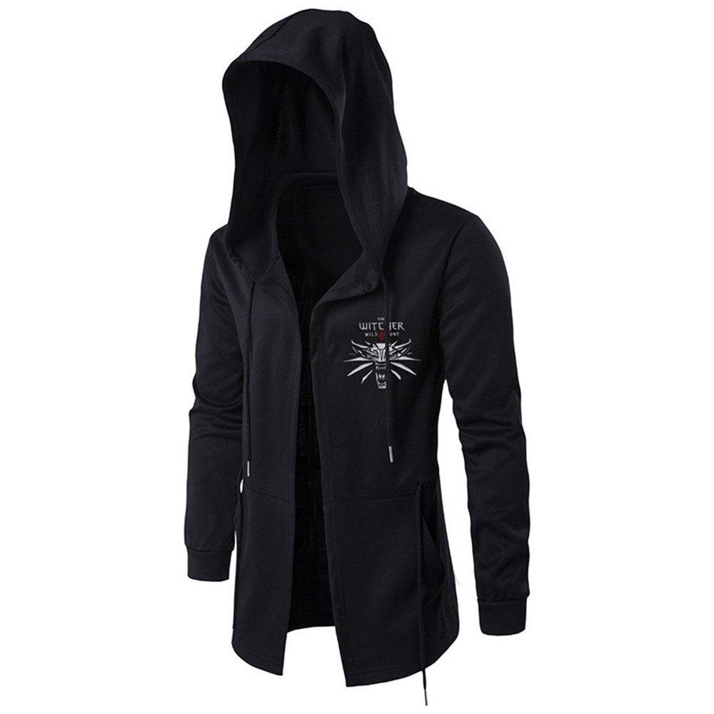VOSTE OW Hoodie Sweatshirt Assassins Cosplay Jacket Witcher Hooded Wind Coat for Men (X-Large, Black 3)