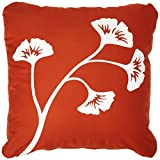 Wabisabi Green Gingko Leaf Decorative Modern Organic Cotton Square Throw Pillow Cover, 18 by 18-Inch, Floral, Rust Orange