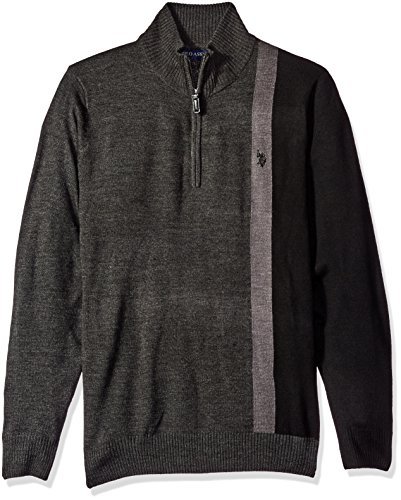 U.S. Polo Assn. Men's Vertical Striped 1/4 Zip Sweater, Charcoal Heather, Small