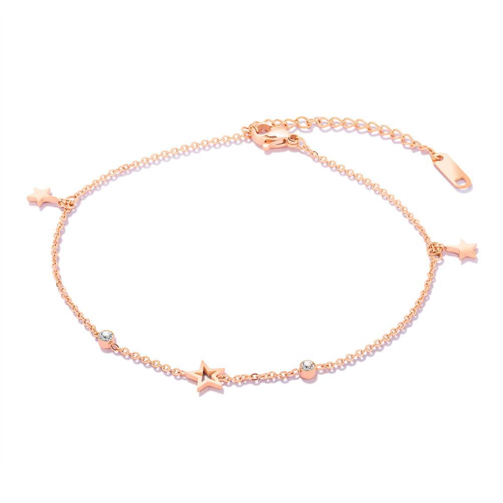 PAURO Womens Stainless Steel Rose Gold Plating Dainty Anklet Bracelet Adjustable Foot Chain