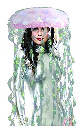 Light Up Jellyfish Costume Headware, One Size, Iridescent