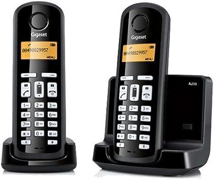 Gigaset AL110 Dúo - Teléfono inalámbrico, agenda de 40 nombres y números, color negro: Amazon.es: Electrónica