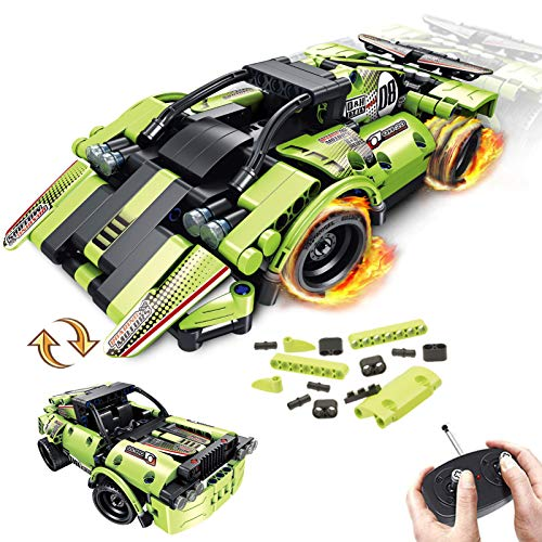 GAMZOO STEM Building Toys for Kids with 2-in-1 Remote Control Racer Snap Together Engineering Kits Early Learning Racecar Building Blocks and Off-Road Best Gift for 6,7,8 and 9+Year Old Boys and Girls