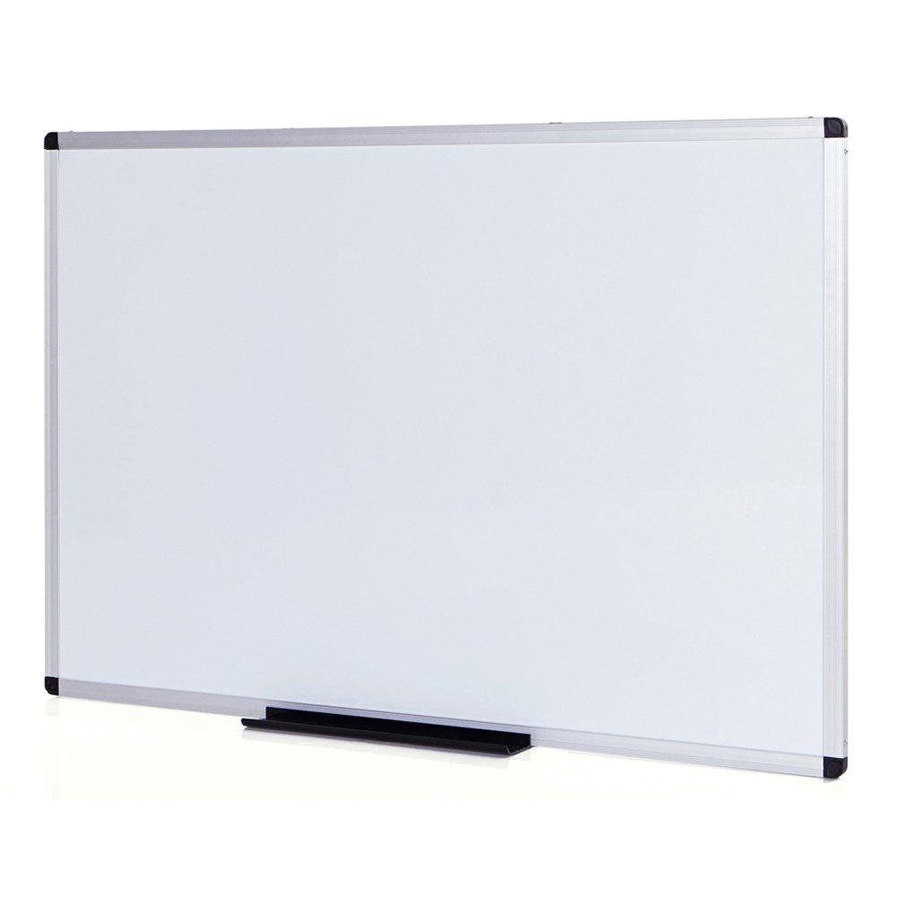 VIZ-PRO Dry Erase Board / Whiteboard, Melamine, 8' x 4', Silver Aluminum Frame