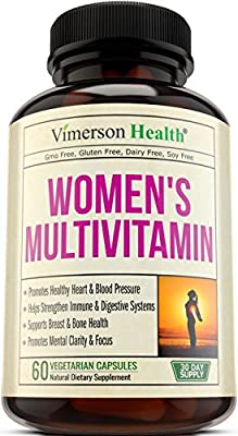 Women's Daily Multivitamin Supplement - Biotin, Vitamins A B C D E, Calcium, Zinc, Lutein, Magnesium, Manganese, Folic Acid & More. Natural, Non-Gmo, Gluten Free & Dairy Free Multivitamins for Women