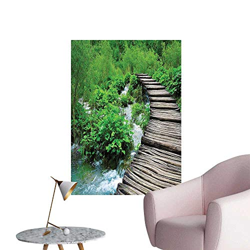 Vinyl Artwork Path and Waterfall Board in Croatia Cascade Garden Lake Fence Peaceful View Easy to Peel Easy to Stick,32
