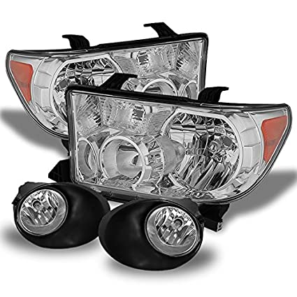 For 2007-2013 Toyota Tundra Clear Lens Chrome Housing Replacement Fog Light Lamp