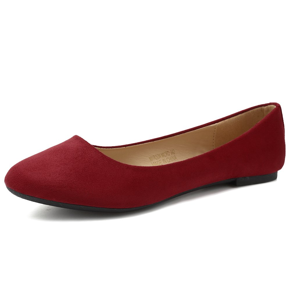 CIOR Women Ballet Flats Classy Girls Simple Casual Slip-on Comfort Walking Shoes from Merence,MaroonMicro,234,5.5M