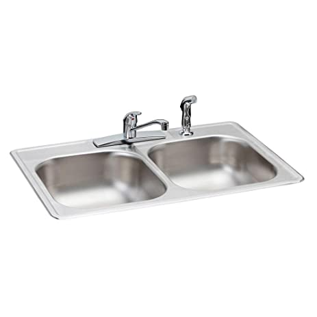 Elkay HD348961LFR Neptune Top Mount 33x22x7 in. 4-Hole Double Bowl ...