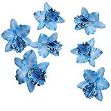 10 PCS Blue Orchid Silk Flower Heads Wedding Decortions 2.8 Inch