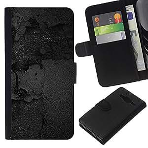 Stuss Case / Funda Carcasa PU de Cuero - Carretera de asfalto Agujero Asfalto Calle Negro - Samsung Galaxy Core Prime