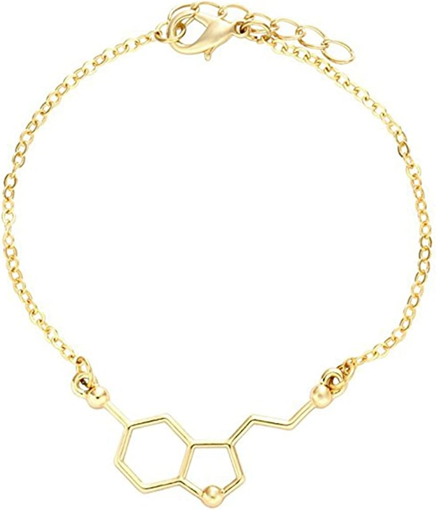 Science Major College Graduation Jewelry Organic Chemistry Jewelry for Science Lovers gold CHOA Happiness Serotonin Molecule Bracelet Happiness Neurotransmitter Necklace