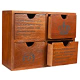 Set of 4 Drawer Wooden Storage Organizer - Small Desktop Decorative Cabinet Boxes for Craft, Vintage Jewelry Organizer - Chic French and Crown Design - Brown, 10.25 x 3.8 x 7.75 inches