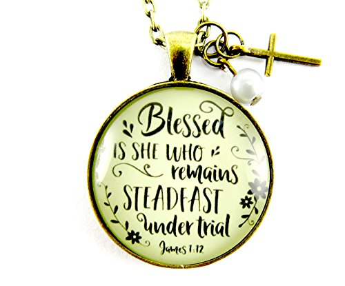 24 Blessed is She Who Remains Steadfast Under Trial Christian Cross Necklace Vintage Style 1.20 Glass Circle Pendant Blessing Jewelry