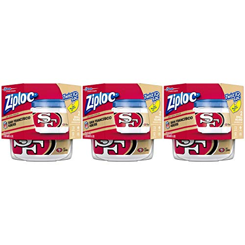San 49ers Francisco Nfl - Ziploc Brand NFL San Francisco 49ers Twist 'n Loc Containers, Small, 2 ct, 3 Pack