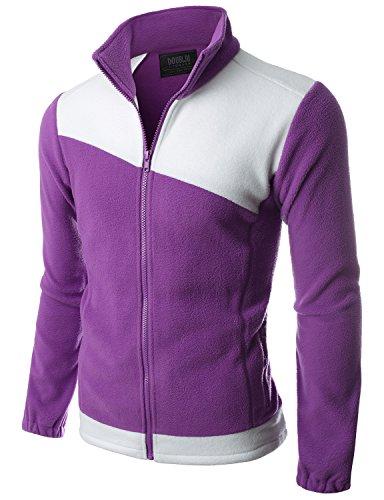 Doublju Mens Ncaa Zip up Comfort VIOLETWHITE Fleece Jacket,2XL