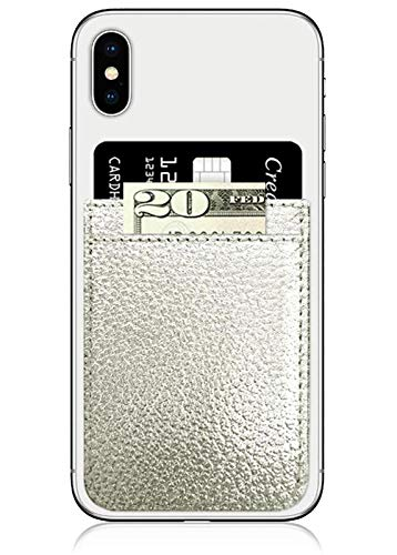 iDecoz Phone Pockets - Stick On Credit Card Wallet - Slim Card Holder - Universal fit - Apple - iPhone - Samsung - Galaxy - and More. (Silver Leather)