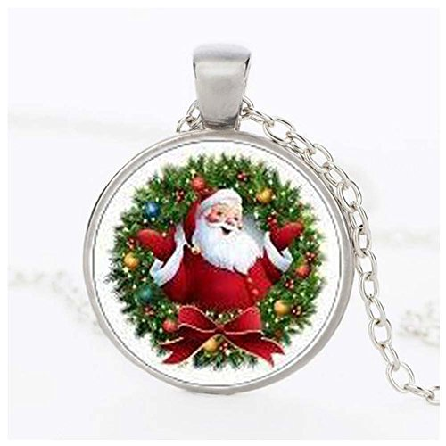 Christmas GERGER BO Retro Alloy Santa Time Gemstone Pendant Necklace(Silver)