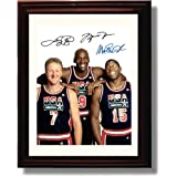 Framed Michael Jordan, Larry Bird, and Magic Johnson Autograph Replica Print - USA Dream Team