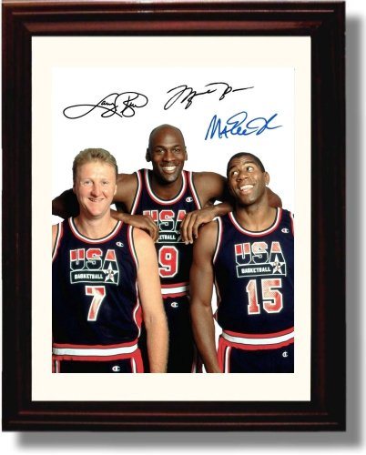 - Framed Michael Jordan, Larry Bird, and Magic Johnson Autograph Replica Print - USA Dream Team