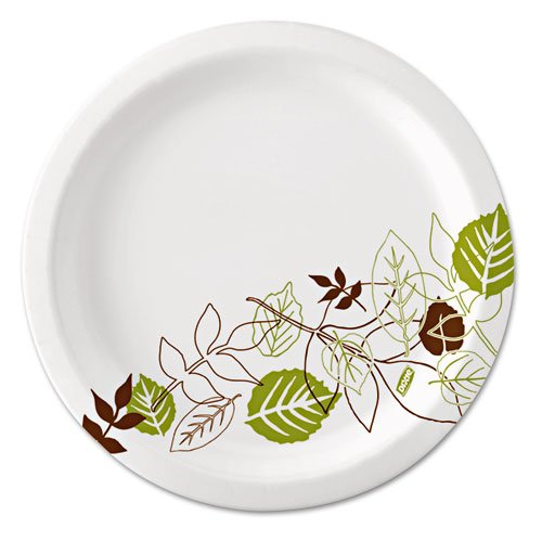 DIXUX7WS Ultralux Pathways Paper Plates, 6.875quot;, Green/Burgundy