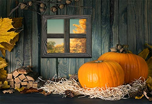LFEEY 9x6ft Country Barn Interior Backdrop Cloth Large Pumpkins Wood Window Farmhouse Firewood Hay Dry Maples Thanksgiving Festival Halloween Photography Background Photos Prop ()