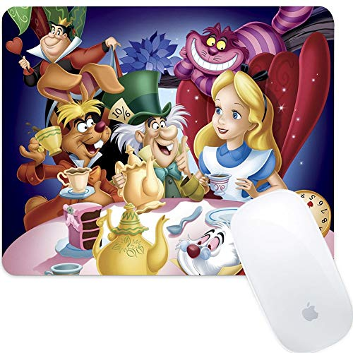 DISNEY COLLECTION Square Round Computer Mouse Pad Alice in Wonderland Light Slim Skid Proof High Mouse Tracking for Office, Gaming and Home (Mousepad Alice In Wonderland)