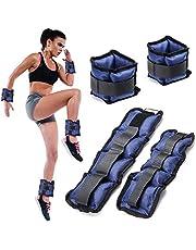 Bakaji set van 4 gewichten voor polsen en enkels 2 kg + 1 kg aerobic fitness krachttraining van neopreen met klittenbandsluiting en verstelbare gesp