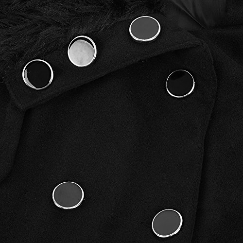 de de Mujer Cinturo Abrigo Doble botonadura Engrosado de con Lana Negro iBaste nxTYtwfqT