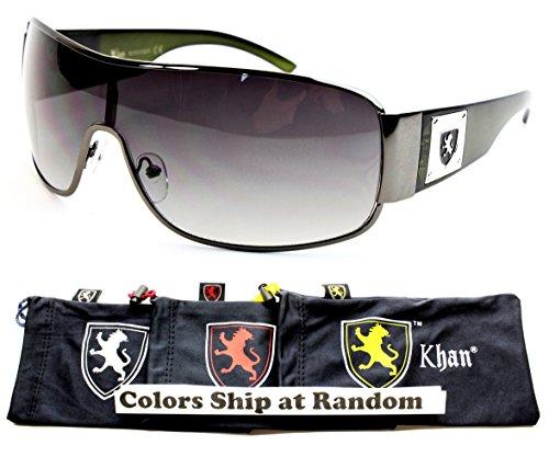 A42-kp Khan Shield Wrap Sunglasses (P3035C Gunmetal/Green-Smoked, - Gunmetal Green