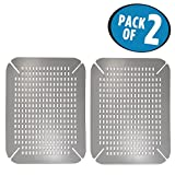 #10: mDesign Adjustable Kitchen Sink Contour Protector Pad Dish Mats, Non-Slip - Pack of 2, Large, Graphite