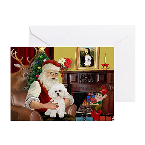 CafePress Santa's Bichon Frise Greeting Card (20-pack), Note Card with Blank Inside, Birthday Card Matte