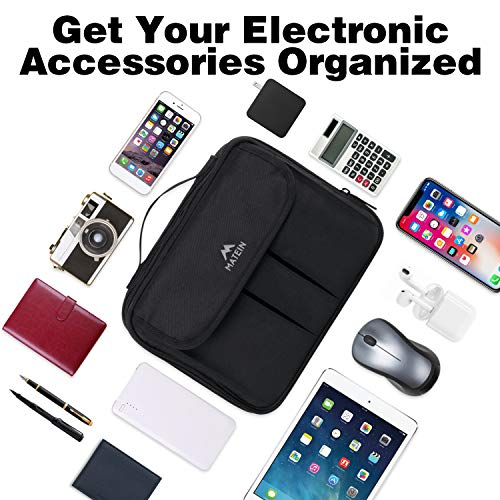 Matein Electronics Organizer, Waterproof Travel Electronic Accessories Case Portable Double Layer Cable Storage Bag for Cord, Charger, Power Bank, Flash Drive, Phone, Ipad Mini, SD Card, Tablet, Black