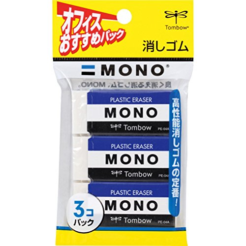1 X MONO PLASTIC ERASER 3piece pack [JAPAN Import] PE04A