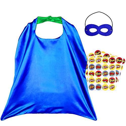 Superhero Capes, Reversible Costume with Mask & Superhero Stickers for (Easy Diy Boy Halloween Costume)