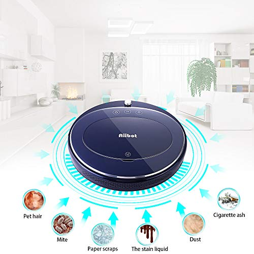 Glumes Smart Robotic Vacuum, Pet Hair Care, Powerful Suction Tangle-free, Super Quiet, Slim Design, Auto Charge, Daily Planning, Good For Hard Floor and Low Pile Carpet Ideal Gift BF Sales (Ship from US!) (Blue) by Glumes (Image #4)