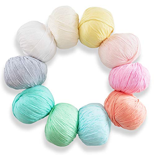 Studio Sam Pure Cotton Yarn Set for Knitting and Crochet. Pack of 10 Skeins, Each 50grams. Great for Baby Blankets and Clothes. Pastel Dreams Collection.